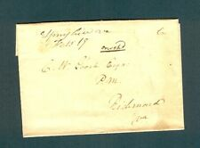 """SCARCE """"Spring Hill Va. Febr 19"""" m/s on OVERCHARGED wrapper to PM at Richmond"""