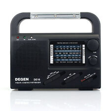 DEGEN DE16 World Receiver FM/FML MW SW Crank Dynamo Solar Emergency Radio Black