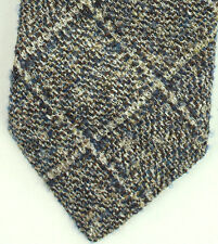 New Mens Canali Wool Silk Gray Blue Woven Neck Tie Made In Italy