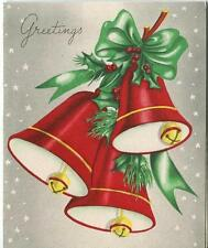 VINTAGE CHRISTMAS RUBY RED COLOR BELL JINGLE HOLLY STARS GREETING CARD ART PRINT