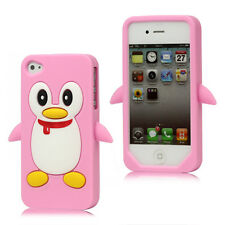 Schutz Hülle Silikon Case Back Cover Schale Apple Iphone 4 4S ROSA PINGUIN RP
