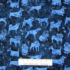 Island Batik Fabric - Pet Dog & Paw Prints Dark Blue - Cotton YARD