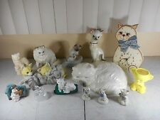 Vtg Ceramic Porcelain Cat Figurines & Clock.Lot of 14 in all Collection