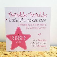 Personalised 1st First Christmas Card Girl Daughter Granddaughter Goddaughter