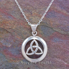 CELTIC CIRCLE IRISH TRINITY Knot Triquetra Pendant Necklace 925 Sterling Silver