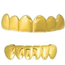 """""""BEST GRILLZ"""" GOLD PLAIN TOP AND BOTTOM ROW TEETH GRILLZ  *NEW*"""