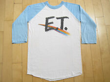 AMAZING!! 1982 vtg ET movie promo RAGLAN T SHIRT rainbow 50/50 MEDIUM