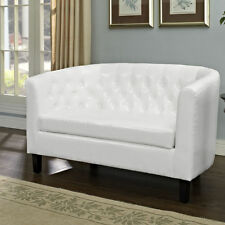 White Leather Loveseat Tufted Modern Sofa Contemporary Couch Furniture Faux New