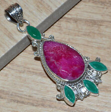 Indian Ruby & Emerald 925 Sterling Silver Pendant Jewelry JJ5013