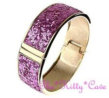 Retro Funky Beatnik Kitsch Bright Fuchsia Pink & Gold Hinged Glitter Bangle Cuff