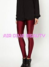 Women Dark Red Maroon Sexy Hot Stretchy Party Pencil Leggings pants Jeggings
