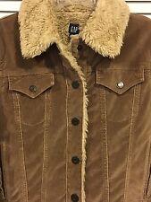 GAP Women's JEAN Velvet/Velour JACKET Faux Fur Sherpa Lining Sz. S TRUCKER STYLE