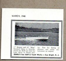 1948 Print Ad Zobel Sea Skiff Boats 17' Skipper,20' Mate Sea Bright,NJ