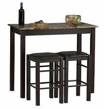 3 Piece Table Set Counter Stools Pub Kitchen Tavern Bar Seat Chair Home Marble