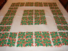 Vintage 1950's Christmas Table Cloth - Holly Berry - Estate Fresh