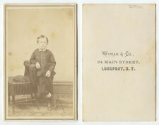 CDV STUDIO PORTRAITHANDSOME BOY FROM LOCKPORT, NY, BY WYMAN