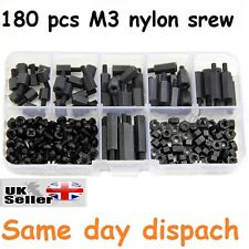 180Pcs M3 Nylon Black M-F Hex Spacers Screw Nut Assortment Kit Stand off Set UK