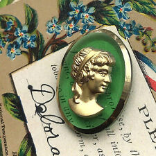 Vintage Cameo,Glass Victorian Lady, Cam Cabochon,Hobe 33x25mm Peridot #1564A