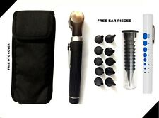 Black LED Light Mini Fiber Optic Pocket Ent Medical Otoscope + Free Penlight