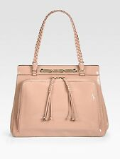 $2487 Authentic VALENTINO Nude GARAVANI Demetra Patent Leather Top Handle Bag