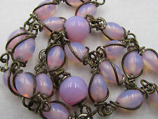 † SCARCE VINTAGE UNBREAKABLE WIRED WRAPPED OPAQUE PINK CAPPED PATER ROSARY †