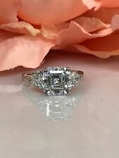 Moissanite Forever One Asscher  Engagement Ring with Pear Accents 14k Gold #4869