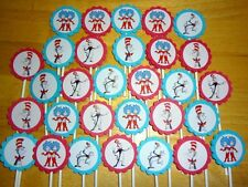 30 Dr Seuss THE CAT IN THE HAT personalized cupcake toppers birthday party favor