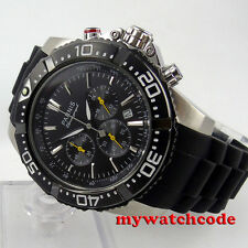 45mm Parnis Black Dial PVD case date Full Chronograph quartz mens Watch P555