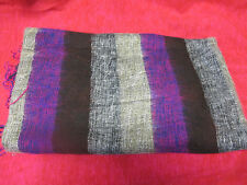 Warm soft large striped purple brown & grey shawl wrap from India. Great gift!.