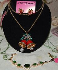 3 PC BETSEY JOHNSON GORGEOUS CHRISTMAS BELL NECKLACE THAT MOVE EARRINGS BRACELET