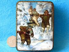 Russian small GICLEE style Lacquer Box FEDOSKINO Winter Hunting man Hunters gift