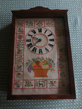 "Vtg. FRUIT BASKET & FLOWERS Cross Stitched Battery WALL CLOCK--11"" x 18"" x 3"""