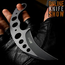 TACTICAL COMBAT KARAMBIT NECK KNIFE Survival Hunting BLACK Fixed Blade w/ SHEATH