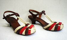 Chie Mihara Shoes Leather Sandals Size UK 4 EU 37 Heels Women's Brown Red Cream