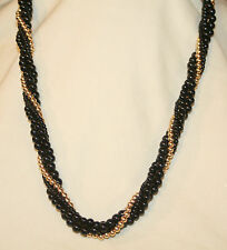 Lovely Napier Black and Goldtone Shiny Beaded Roped Twisted Pendant Necklace