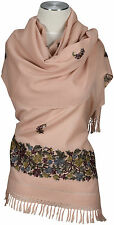 Pashmina Schal Apricot,  hand bestickt embroidered 100% Wolle, wool stole Rosé