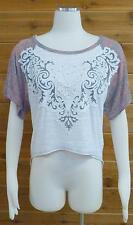 Vocal Top! Beautiful Lace Applique, High-Low Burn-Out Tee!! - Sz Lg #7971S