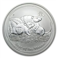 (5) Australia $1 Dollar 2008 Lunar Series II Mouse Rat 1 oz .999 Silver Coin