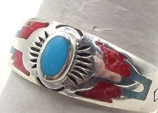SZ 10.5 Sterling Silver Man Woman Vintag Southwest Red Coral Blue Turquois Ring