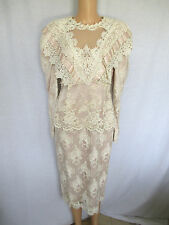 LORRIE KABALA Dress Size 10 Beige & Pink Victorian Vintage Style Lace & Pearls