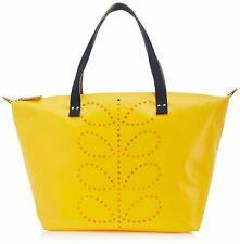 Orla Kiely Punched Stem Tarpaulin Canvas Zip Shopper Tote Shoulder Bag - Yellow