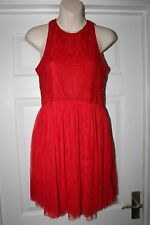 Ladies Red Lace Atmosphere Dress Size 12 Christmas Party Frock