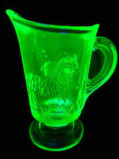 Green Vaseline glass child's lamb sheep pattern toothpick holder Pitcher Uranium