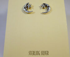 .925 Sterling Silver MAN IN THE MOON & STAR Post/Stud EARRINGS NEW 925 NV23