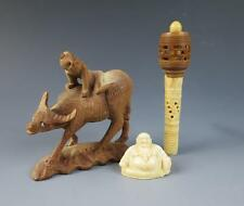 3 Vintage CARVED Chinese Items Buddha Riding Water Buffalo Baby Rattle WOOD Bone