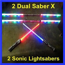 2 FX Led STAR WARS Lightsaber Light Saber Sword Sound Color FX + 2 Dual Sabers X