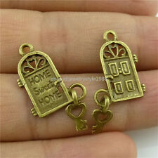 13919 40PCS Mini Alloy Vintage Bronze Tone House Door Sweet Home Pendant Charms