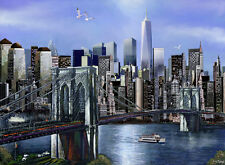 "FREEDOM Tower Brooklyn Bridge New York City painting Giclee Canvas 16""X20"""