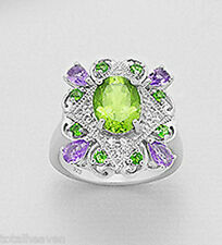 Solid Sterling Silver Peridot Amethyst Chromium Diopside Cocktail Ring size 9