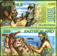 COLORFUL & SUPERB EASTER ISLAND 500 RONGOS POLYMER FANTASY ART BANKNOTE - UNC!